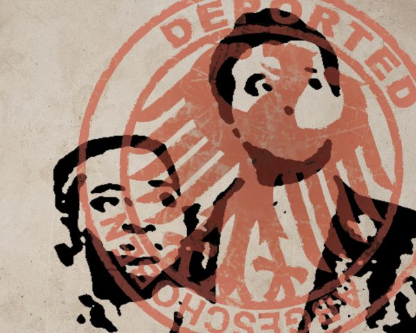 Graphic of two people with deported stamp over them