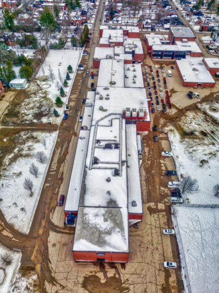 Aerial photo and video of vaccination clinic at Arnprior District High School in Renfrew, Ontario, by Scott McLeod, County of Renfrew Paramedic RPAS Program