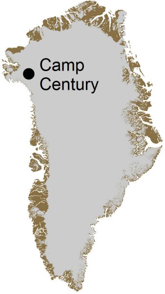 Camp Century on a map of Greenland