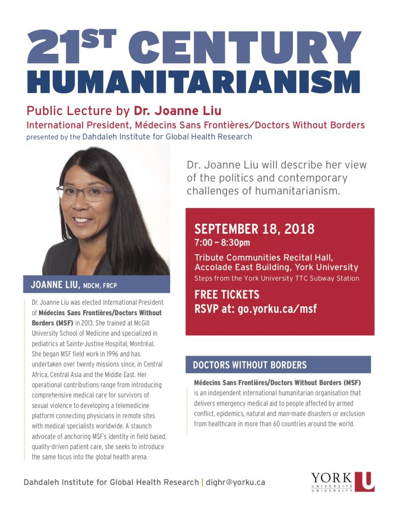 lecture flyer for Doctors Without Borders (MSF) International President on Humanitarianism and Global Health