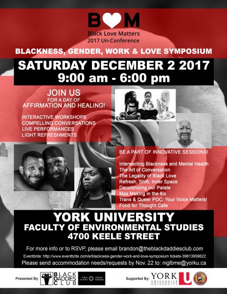 Poster for Blackness, Gender, Work and Love symposium