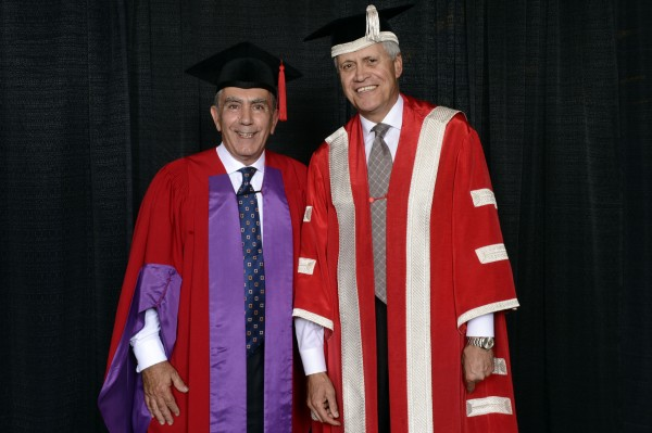 Gregory Sorbara (left) is appointed Chancellor of York University, to be installed on June 13, 2014. Sorbara, a York alumnus and champion for education, is seen here with President and Vice-Chancellor Mamdouh Shoukri at last year's convocation ceremonies when he was conferred with an honorary doctorate of laws.