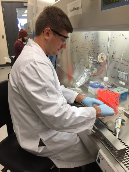 Dmitry Rogozhnikov, a chemistry PhD student at York, in the lab creating a 3D heart