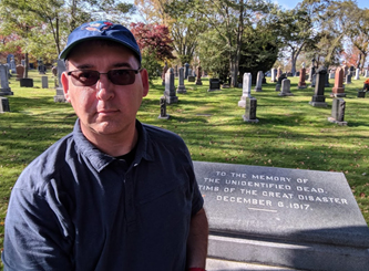 York U disaster and emergency management Associate Professor Jack Rozdilsky at Halifax St. Johns Cemetery, which hold the remains from some of the approximately 2,000 persons killed in the December 6, 1917 Halifax Harbour explosion
