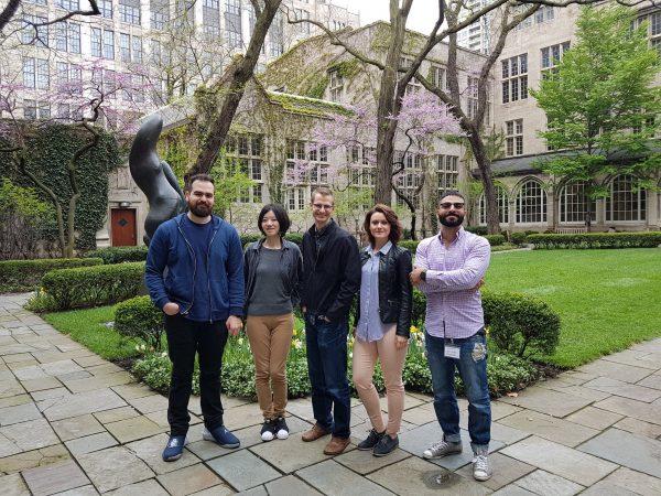 Osgoode Hall Law School students, from left, Raffaele Virdo, Fanqi Wang, Cameron McMaster, Yonida Koukio, Omar Alsayyed standing outside of law school