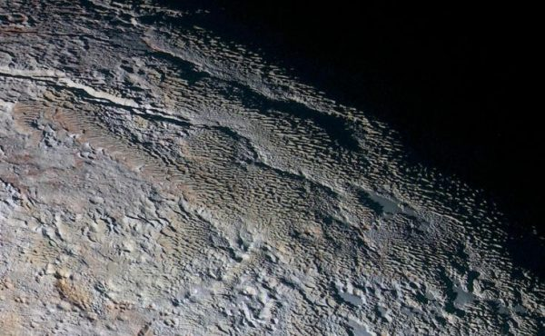 Pluto with icy ridges
