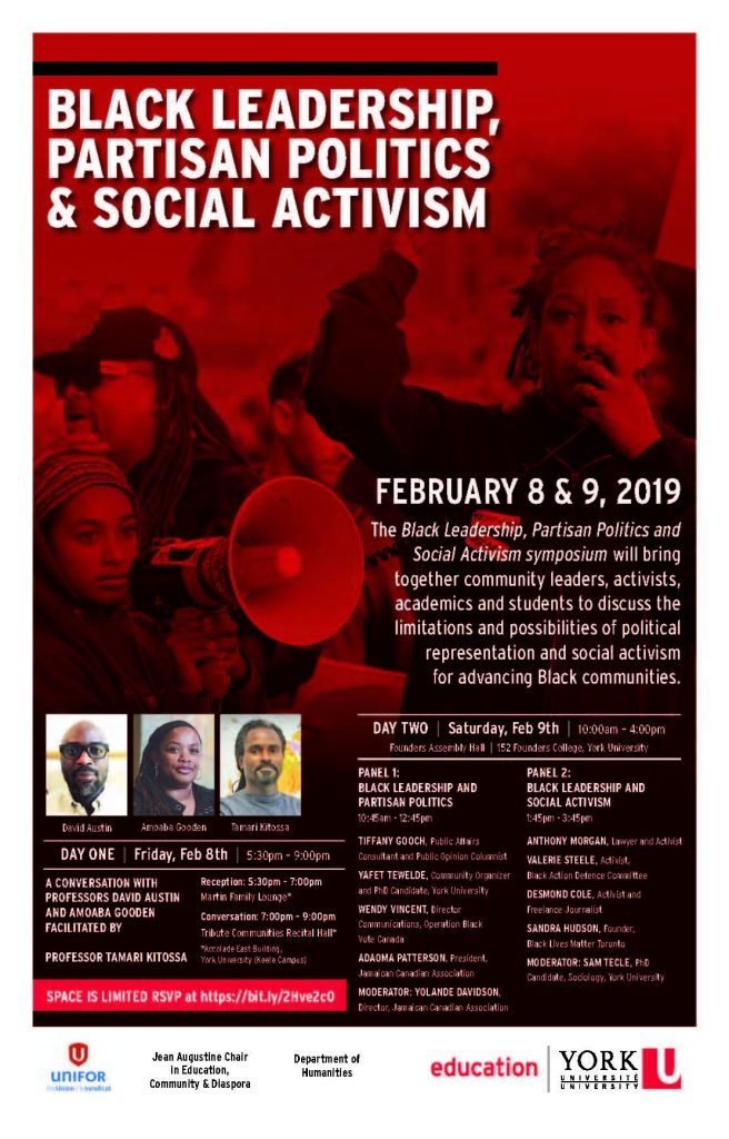 Poster for Black History month event in Toronto