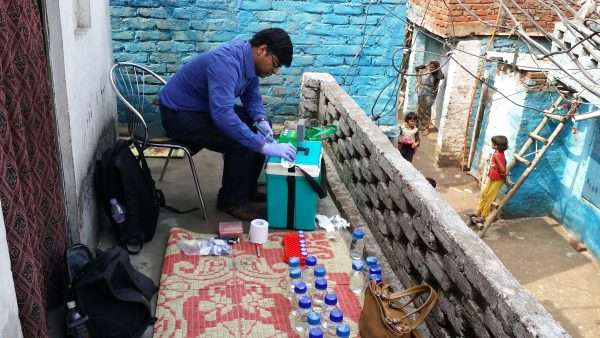 Naga Siva Gunda, president and CTO of Glacierclean, is performing test at one of the field locations in Delhi, India. (Photo / York University)