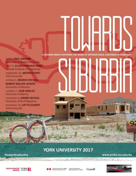 Poster for Towards Suburbia Speaker Series with a couple of homes being built