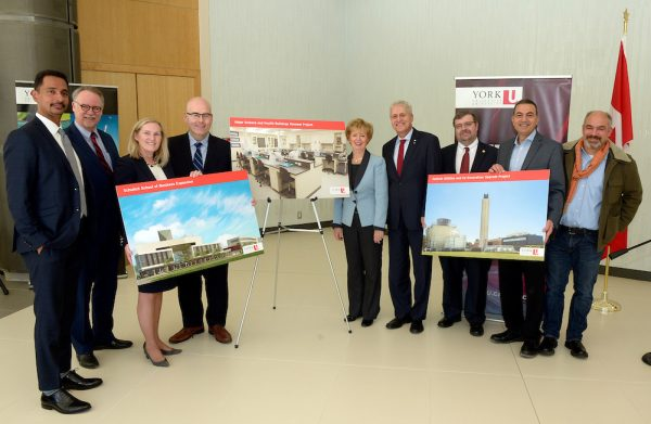 $113 million in infrastructure and sustainability funding announced today at York U. From left, Faculty of Science Dean Ray Jayawardhana, Dean of the Faculty of Health Paul McDonald, Vice-President Academic and Provost Rhonda Lenton, Minister of Transportation and MPP Vaughan Steven DelDuca, MP Humber River-Black Creek Judy Sgro, York U President and Vice-Chancellor Mamdouh Shoukri, York U Vice-President Research and Innovation Robert Haché, Sherif Saleb, project manager at NXL Architects and David Agro, project architect