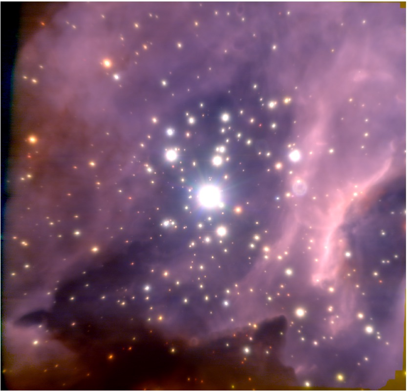 The image above is a false-colored image of star cluster RCW 38. Some brown dwarves are faintly visible from the high-resolution image.