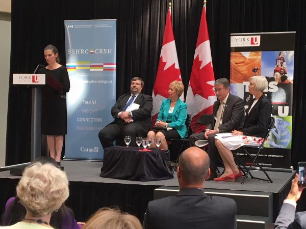 From Left: The Honourable KirstyDuncan, Minister of Science, Rob Hache, York University Vice President Research and Innovation, the Honourable Judy Sgro, MP, Ted Hewitt, President, SSHRC, and Valerie Preston, Partnership Grant lead and professor, Faculty of Liberal Arts and Professional Studies